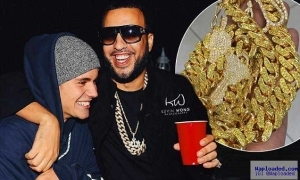 Photo: Justin Bieber Bought French Montana A $150,000 Golden Chain As His Birthday Gift